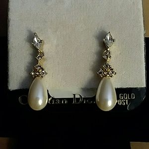 NEW Christian Dior Pearl and CZ Dangle Earrings